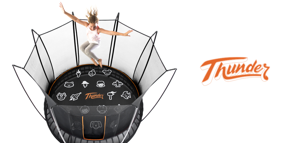 Girl jumping up and down on a Vuly Thunder trampoline