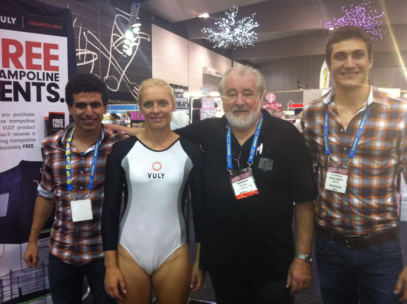 Noel Scott of HeartKids Australia with Vuly Trampolines CEO Joe Andon and Australian Trampoline Athlete Christie Jenkins