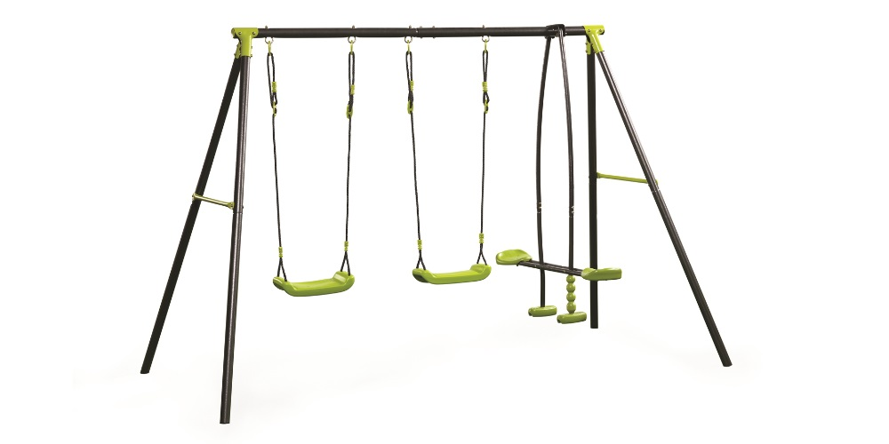 Modern play equipment  and swings made from cheaper metal and plastics