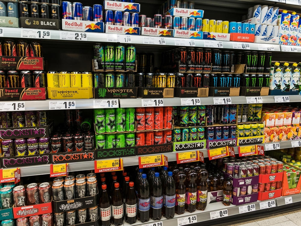 Supermarket aisle of energy drinks