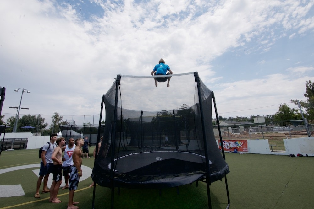 GT Games competitor bouncing high on a trampoline