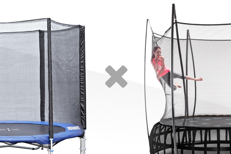 Two trampolines side by side comparing the safety netting