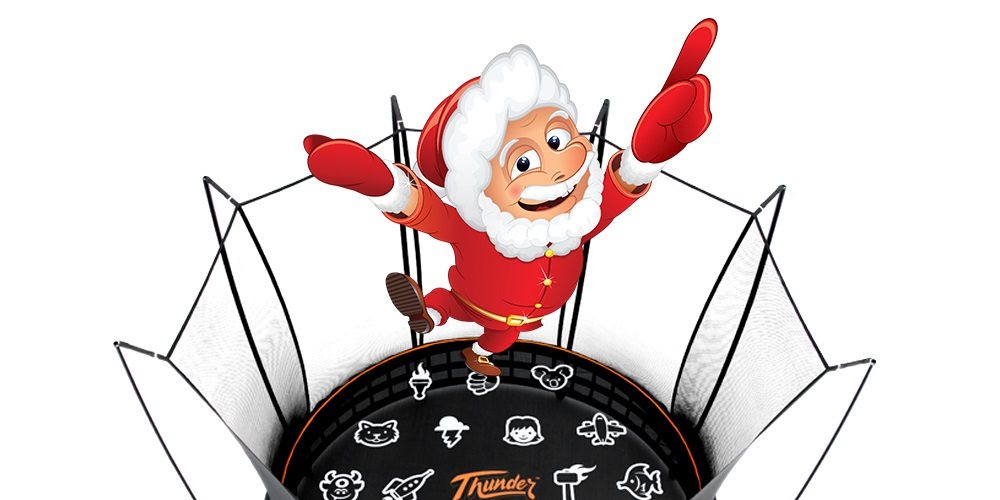 Animated santa bouncing on a Vuly trampoline