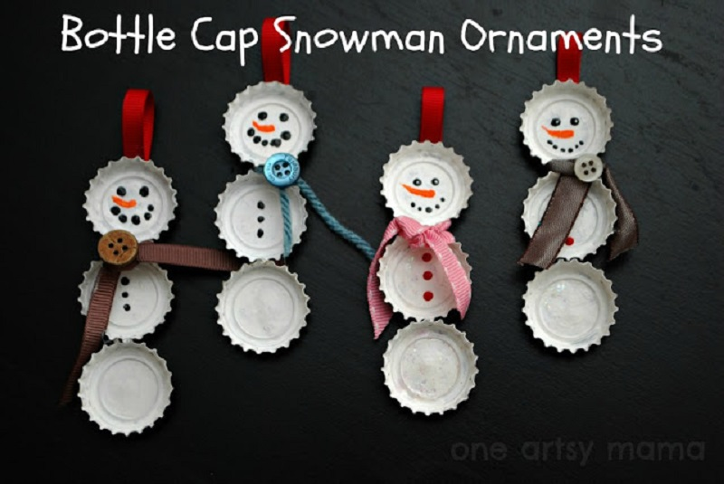 Bottlecap DIY snowman ornaments