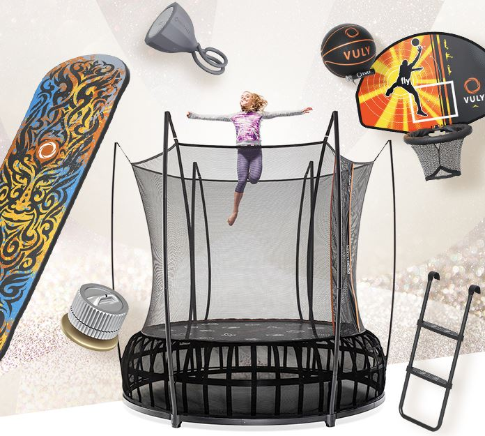 Girl jumping on Vuly trampoline with a range of trampoline accessories