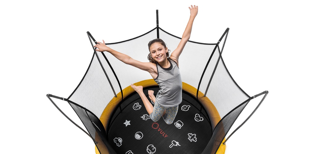 Girl jumping on Vuly trampoline