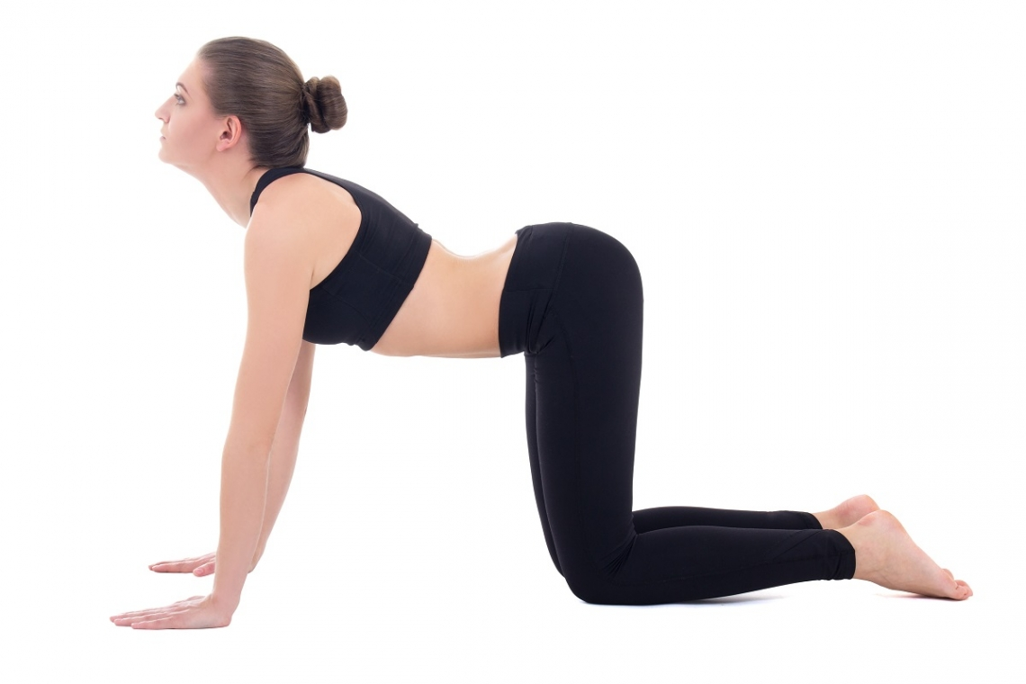 Woman in yoga cat pose position