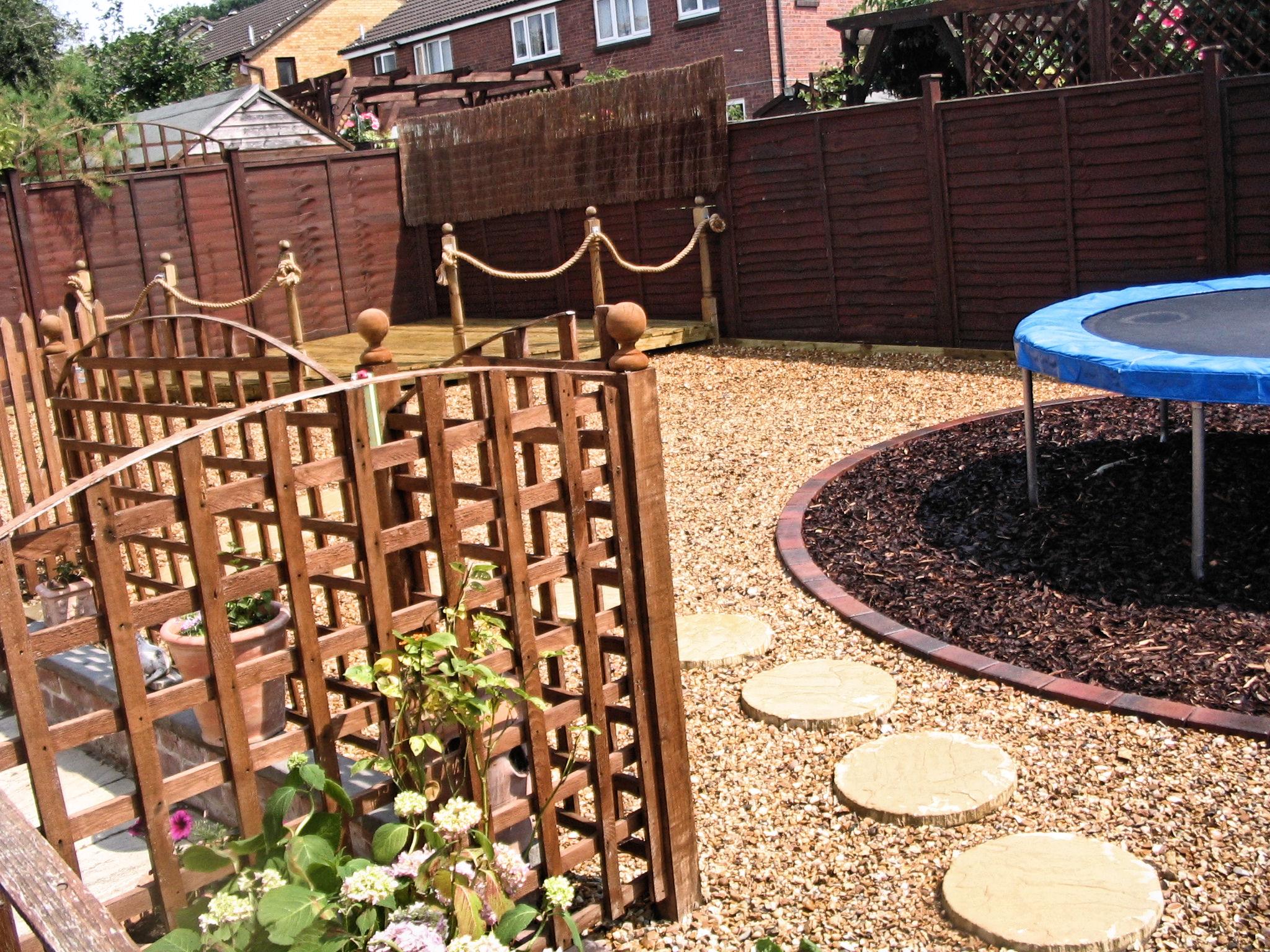 trampoline backyard landscaping