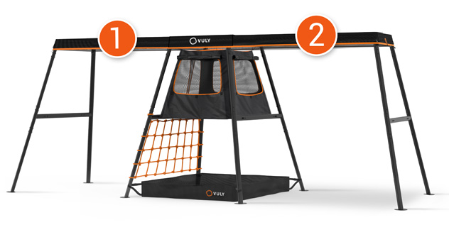 Outdoor Playset - 1 Swing + Cubby + 1 swings