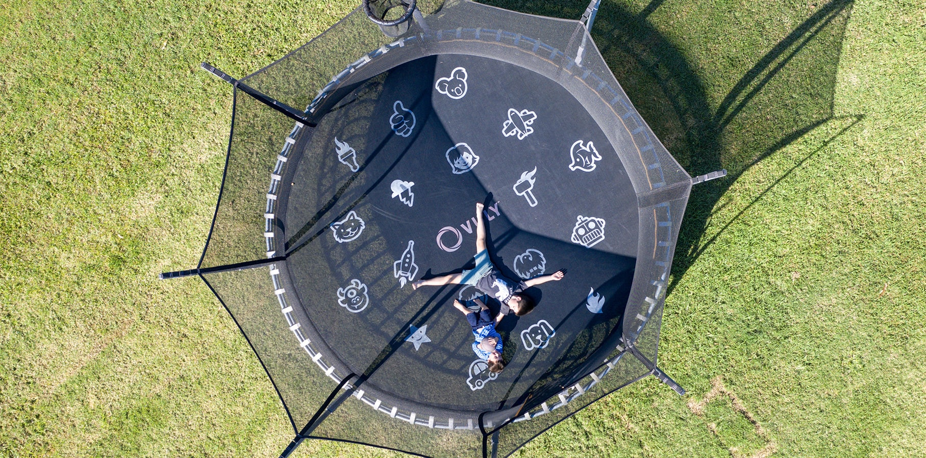 Looking down on boys on Thunder trampoline