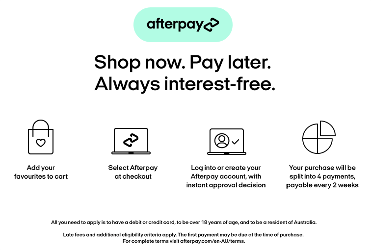Buy with afterpay - own it now, pay later