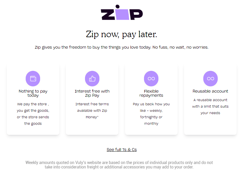 Buy with Zip Money - own it now, pay later