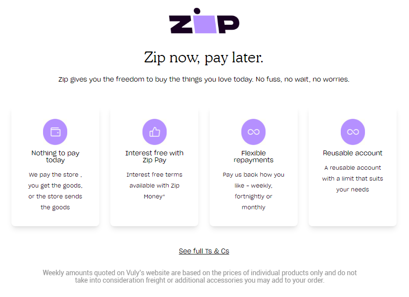 Buy with Zip Pay - own it now, pay later