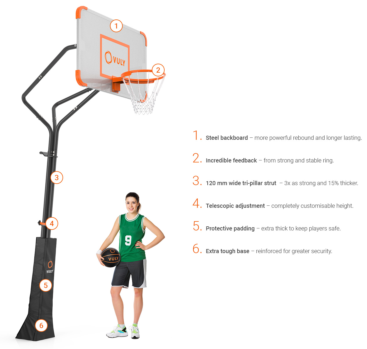 Raise or lower the basketball hoop in seconds.