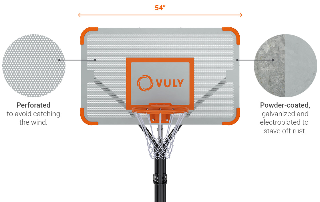 The basketball set is perforated to prevent wind from toppling the unit.