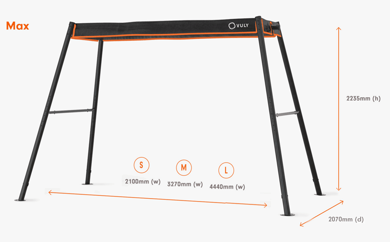 Dimensions of Max swing set.