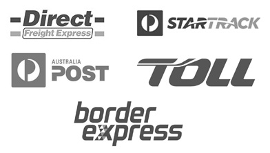 Logos of delivery partners Direct Feight Express and StarTrack
