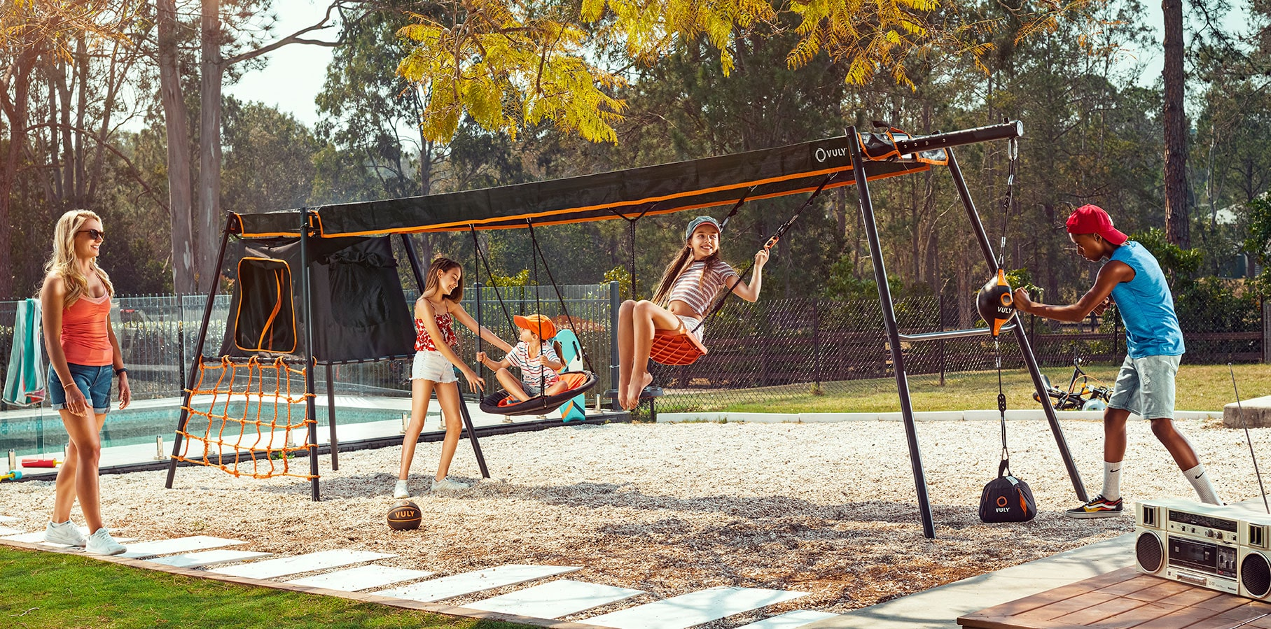 Mini Swing Set with shade cover