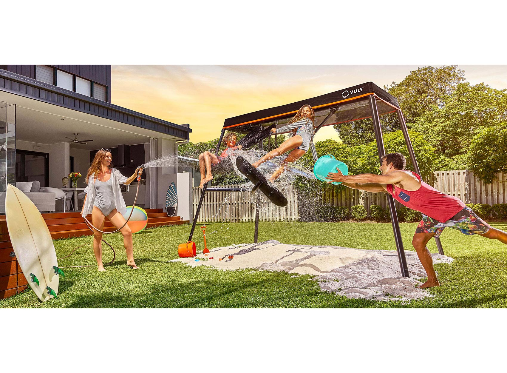 Nothing gets kids outside quite like the 360 Pro swing set and basketball.