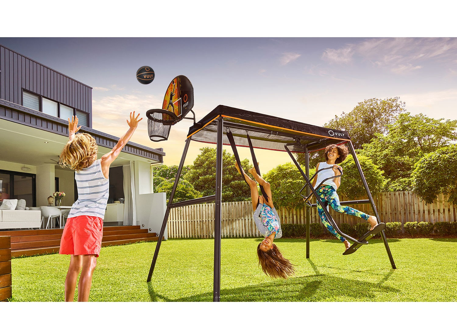 Attach a Basketball Set, Mister or Pulse to your 360 swing set, and enjoy them in a new way.