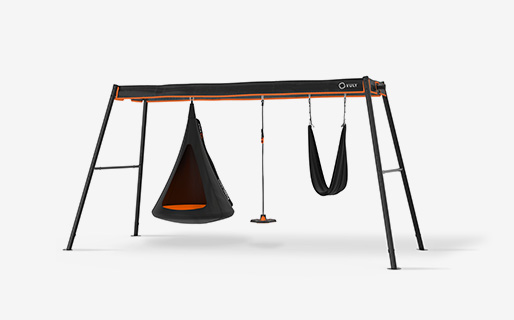 Max - large swingset (Cubby,Bounce, Yoga) with hanging cubby, bounce and yoga swings