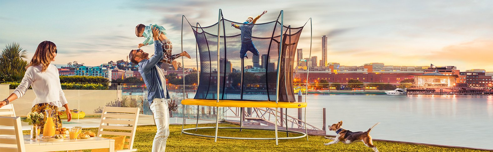 The unique Vuly lift trampoline.