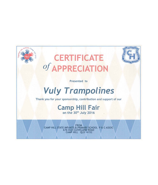 Certificate of appreciation from Camp Hill State School.