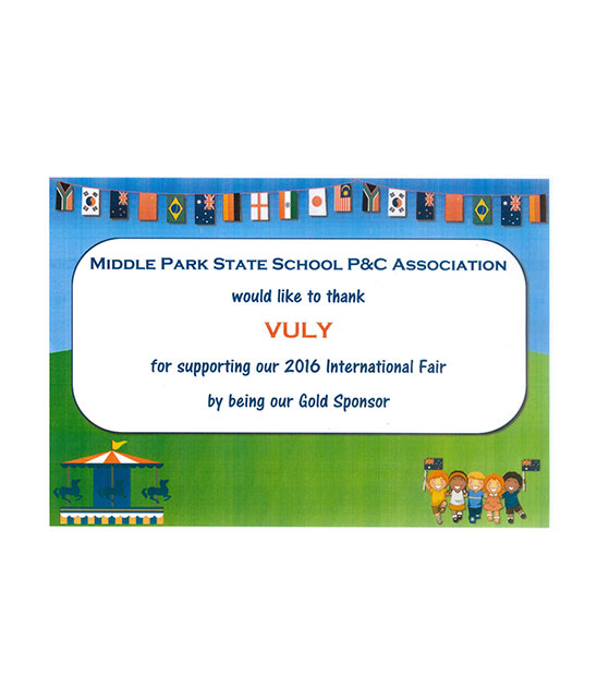 Certificate of appreciation from Middle Park State School