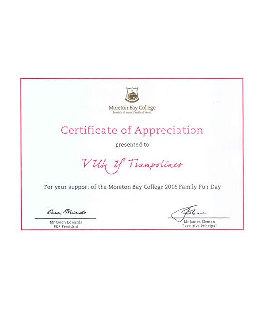 Certificate of appreciation from Moreton Bay College.