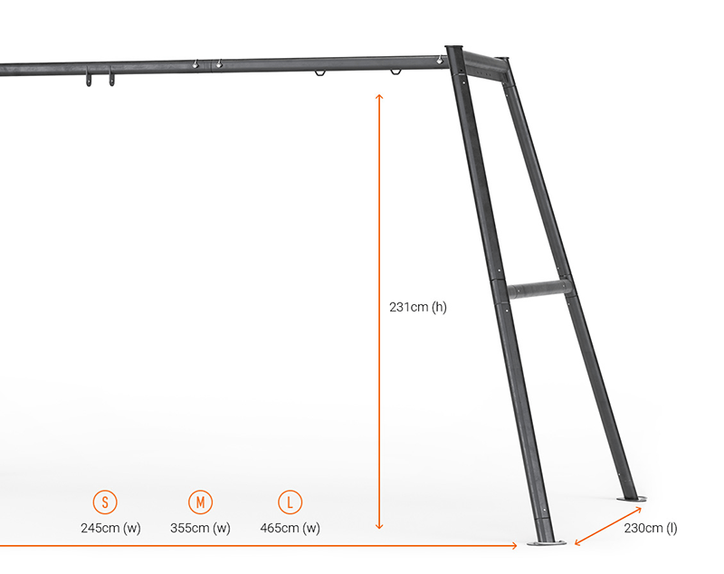 Dimensions of each Vuly swingset size.