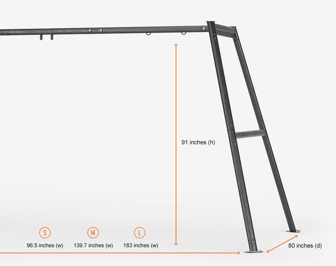 The Vuly Swing Set frame dimensions in inches.