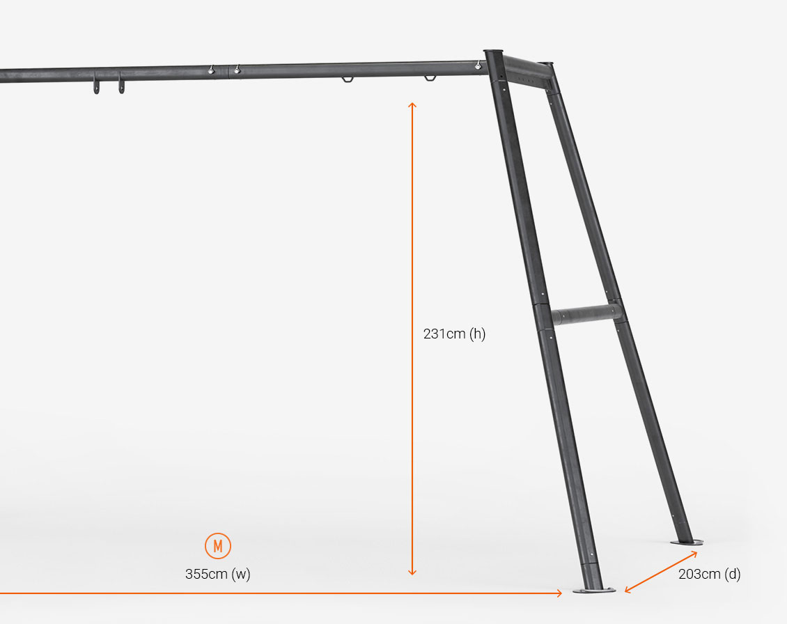 The Vuly Swing Set frame dimensions in centimetres.