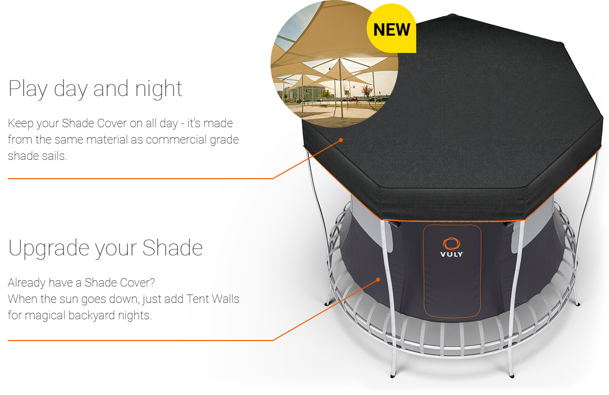 Keep your trampoline shade cover on all day and all night.