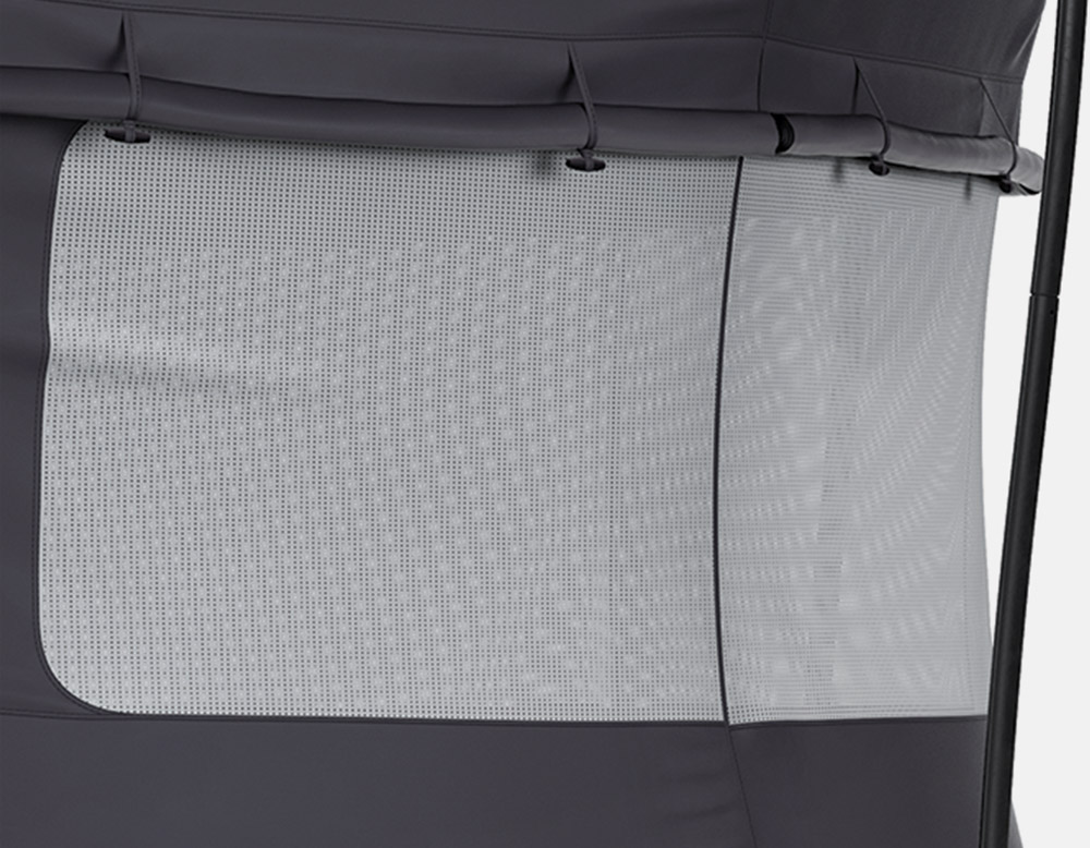 Mesh window in trampoline tent.